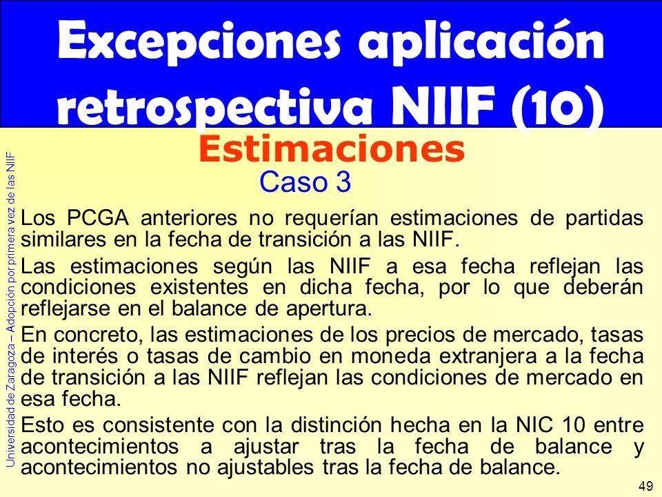 Universidad de Zaragoza – Adopción por primera vez de las NIIF 49 Los PCGA anteriores no requerían estimaciones de partidas similares en la fecha de t