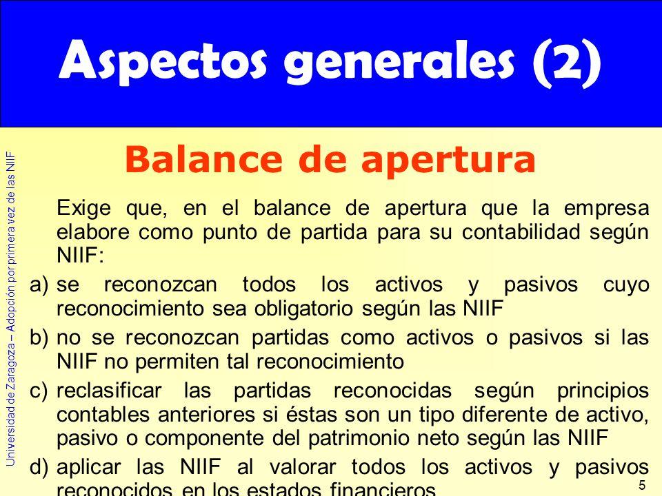 Universidad de Zaragoza – Adopción por primera vez de las NIIF 5 Exige que, en el balance de apertura que la empresa elabore como punto de partida par