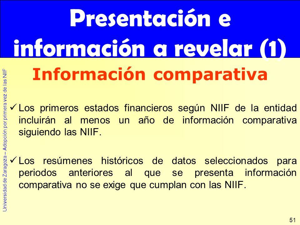 Universidad de Zaragoza – Adopción por primera vez de las NIIF 51 Los primeros estados financieros según NIIF de la entidad incluirán al menos un año
