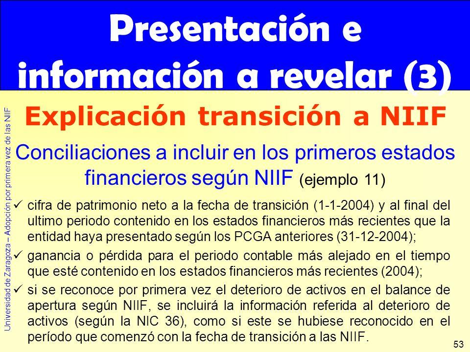 Universidad de Zaragoza – Adopción por primera vez de las NIIF 53 cifra de patrimonio neto a la fecha de transición (1-1-2004) y al final del ultimo p