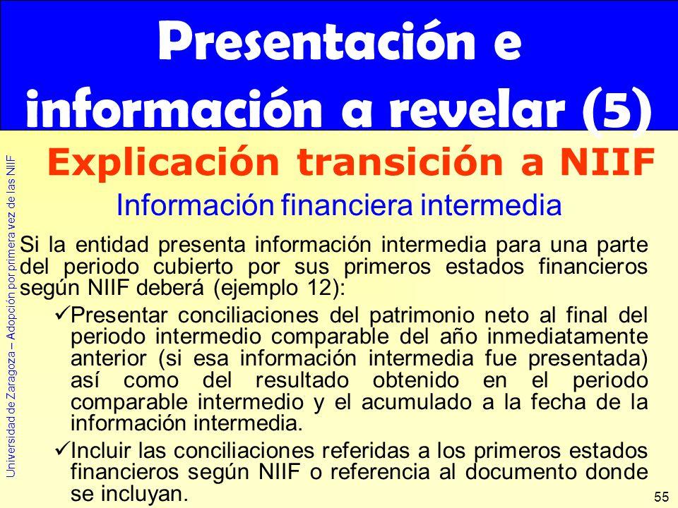 Universidad de Zaragoza – Adopción por primera vez de las NIIF 55 Si la entidad presenta información intermedia para una parte del periodo cubierto po
