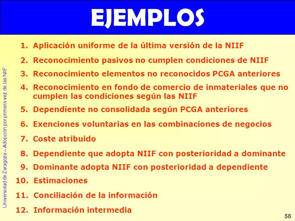 Universidad de Zaragoza – Adopción por primera vez de las NIIF 56 EJEMPLOS 1.Aplicación uniforme de la última versión de la NIIF 2.Reconocimiento pasi