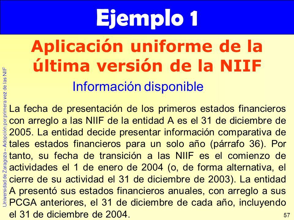 Universidad de Zaragoza – Adopción por primera vez de las NIIF 57 Aplicación uniforme de la última versión de la NIIF La fecha de presentación de los