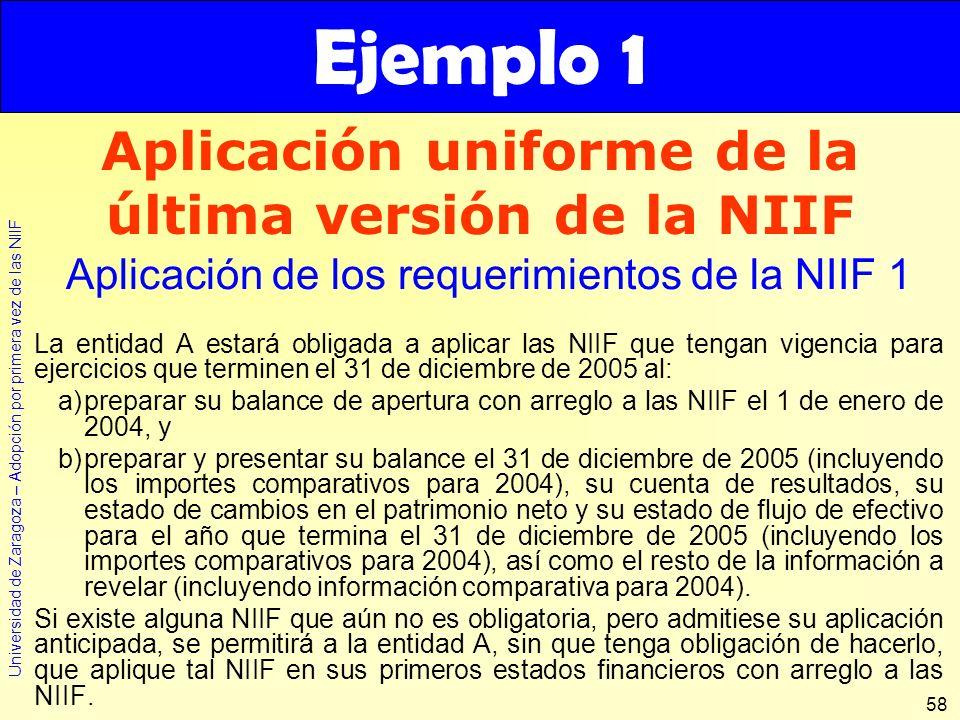 Universidad de Zaragoza – Adopción por primera vez de las NIIF 58 La entidad A estará obligada a aplicar las NIIF que tengan vigencia para ejercicios