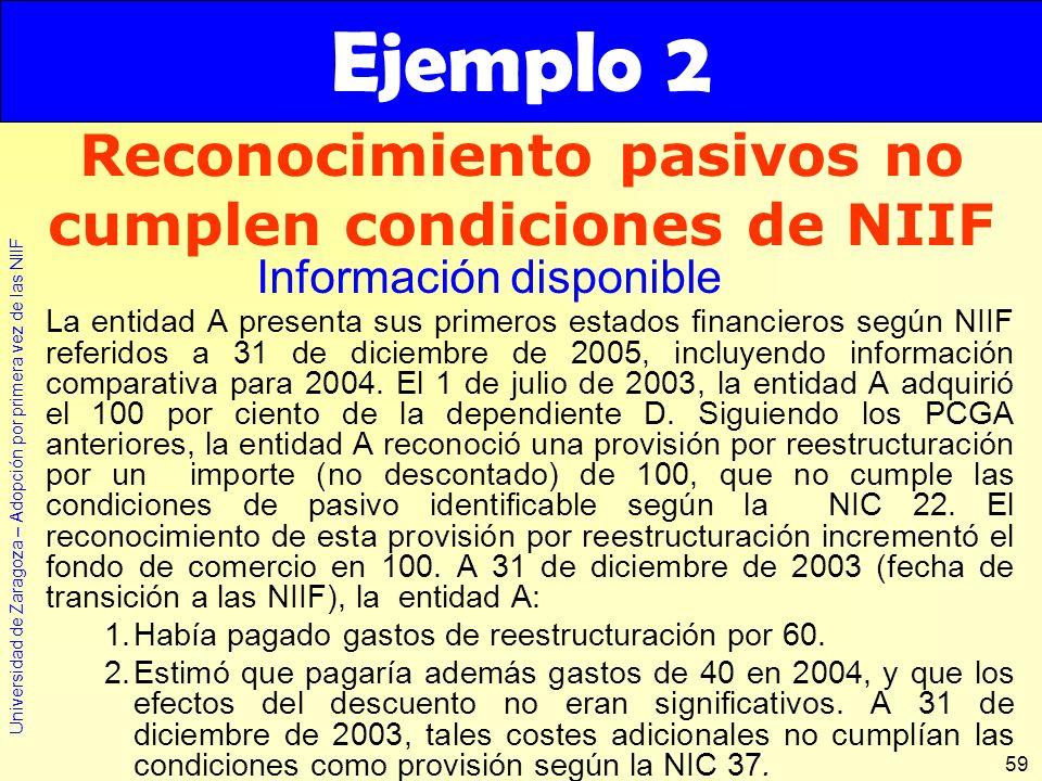 Universidad de Zaragoza – Adopción por primera vez de las NIIF 59 La entidad A presenta sus primeros estados financieros según NIIF referidos a 31 de
