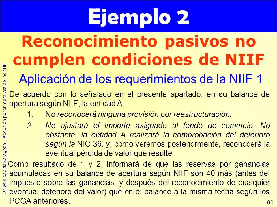 Universidad de Zaragoza – Adopción por primera vez de las NIIF 60 De acuerdo con lo señalado en el presente apartado, en su balance de apertura según