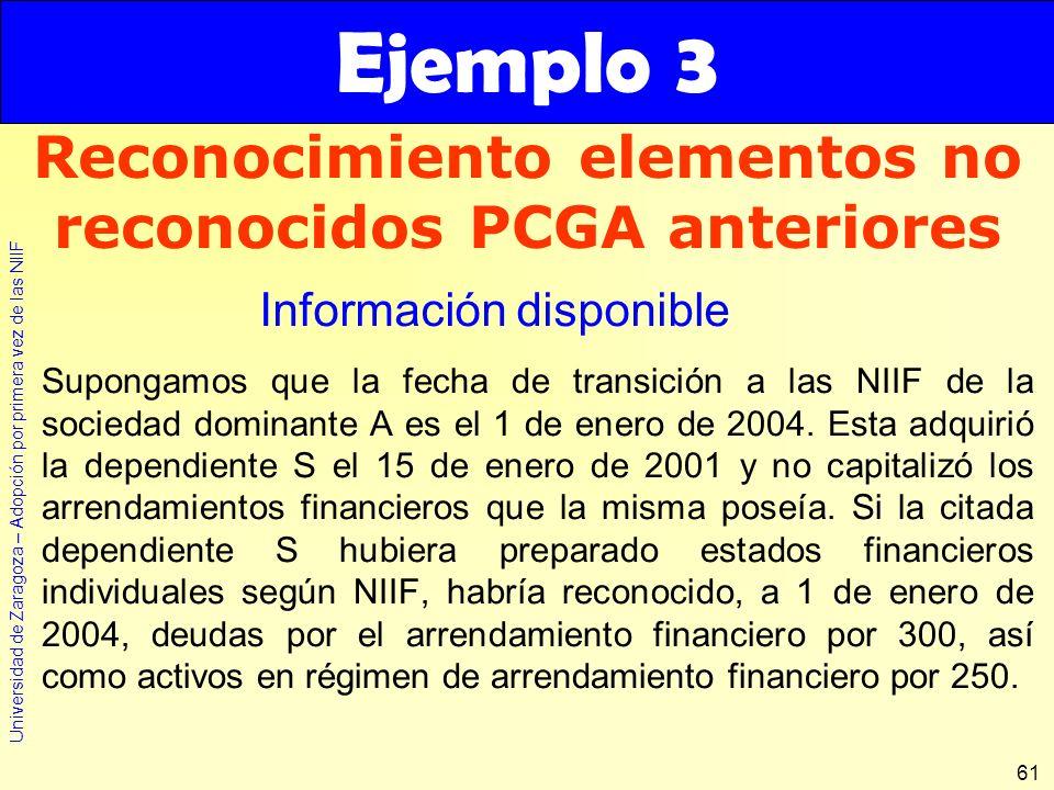Universidad de Zaragoza – Adopción por primera vez de las NIIF 61 Supongamos que la fecha de transición a las NIIF de la sociedad dominante A es el 1