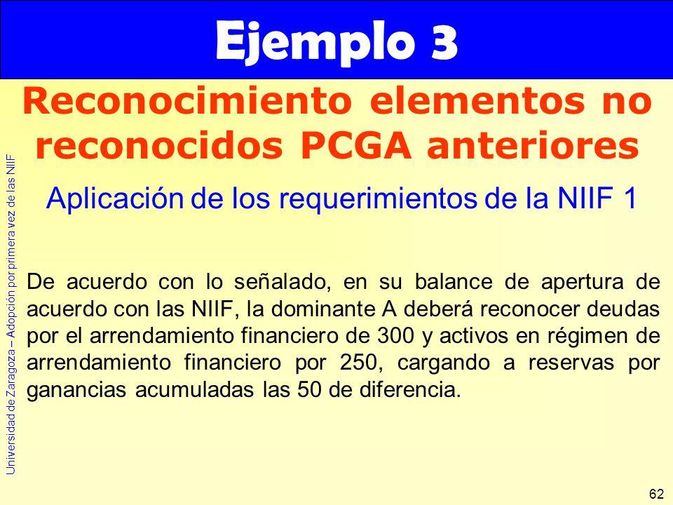 Universidad de Zaragoza – Adopción por primera vez de las NIIF 62 De acuerdo con lo señalado, en su balance de apertura de acuerdo con las NIIF, la do