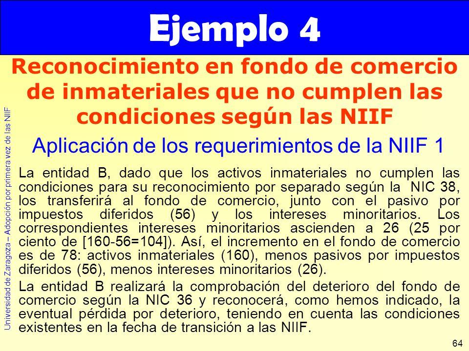 Universidad de Zaragoza – Adopción por primera vez de las NIIF 64 La entidad B, dado que los activos inmateriales no cumplen las condiciones para su r