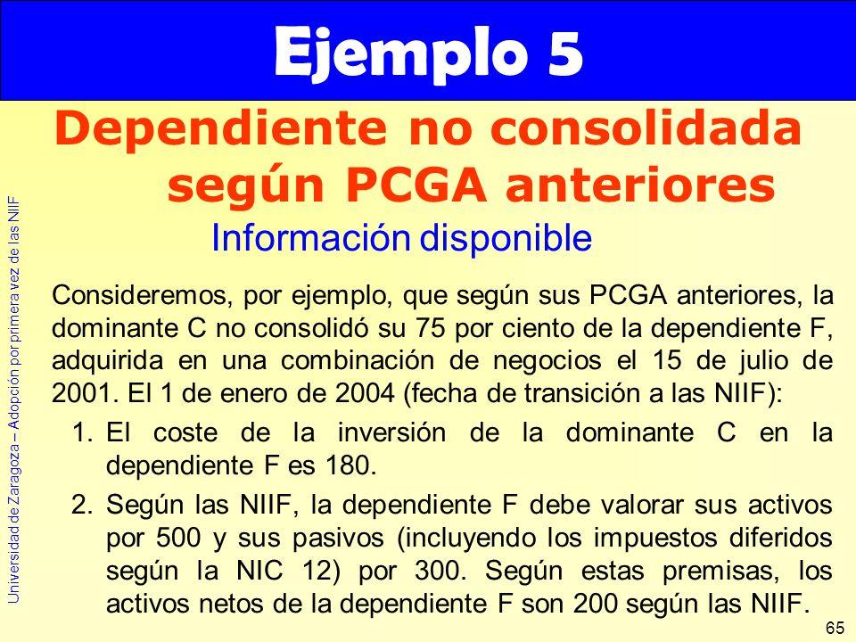 Universidad de Zaragoza – Adopción por primera vez de las NIIF 65 Consideremos, por ejemplo, que según sus PCGA anteriores, la dominante C no consolid