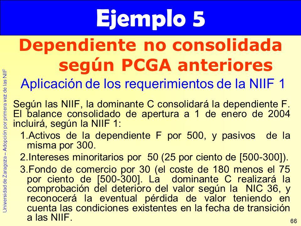 Universidad de Zaragoza – Adopción por primera vez de las NIIF 66 Según las NIIF, la dominante C consolidará la dependiente F. El balance consolidado