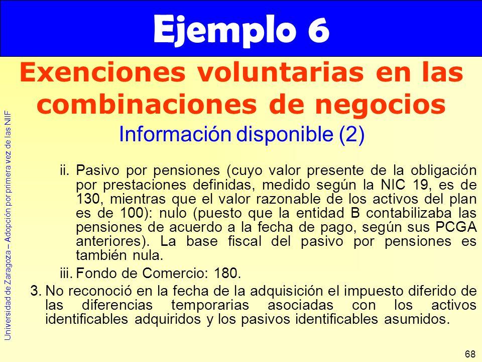 Universidad de Zaragoza – Adopción por primera vez de las NIIF 68 ii.Pasivo por pensiones (cuyo valor presente de la obligación por prestaciones defin