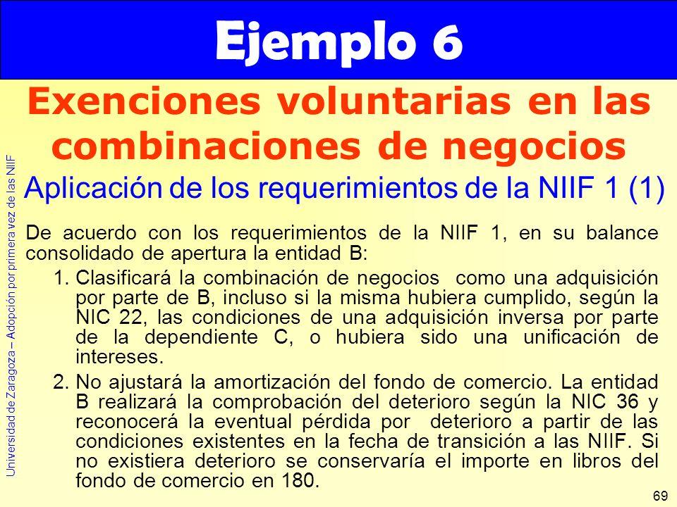 Universidad de Zaragoza – Adopción por primera vez de las NIIF 69 De acuerdo con los requerimientos de la NIIF 1, en su balance consolidado de apertur