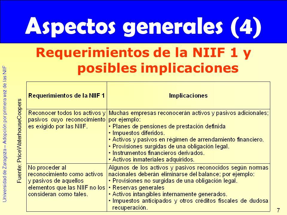 Universidad de Zaragoza – Adopción por primera vez de las NIIF 7 Requerimientos de la NIIF 1 y posibles implicaciones Aspectos generales (4) Fuente: P