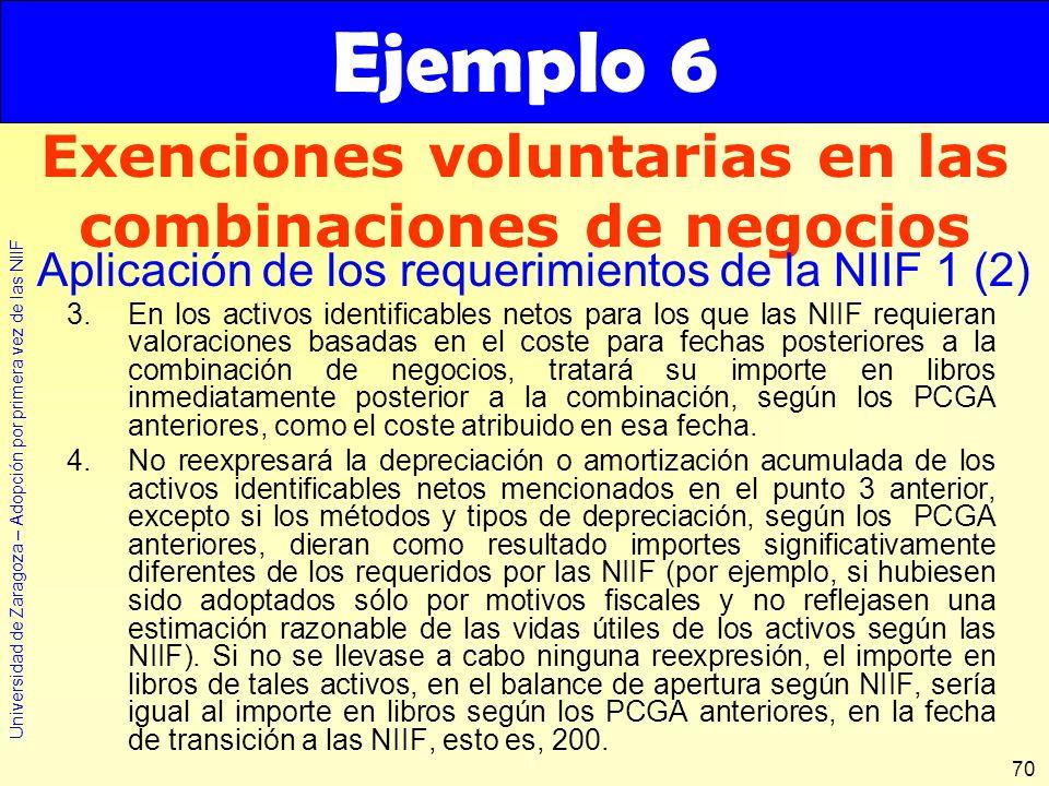 Universidad de Zaragoza – Adopción por primera vez de las NIIF 70 3.En los activos identificables netos para los que las NIIF requieran valoraciones b