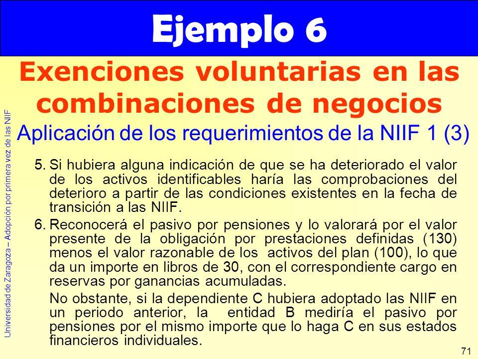 Universidad de Zaragoza – Adopción por primera vez de las NIIF 71 5.Si hubiera alguna indicación de que se ha deteriorado el valor de los activos iden