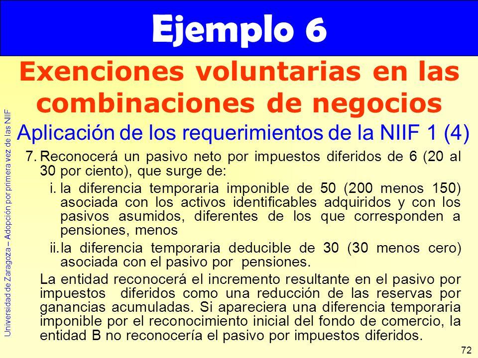 Universidad de Zaragoza – Adopción por primera vez de las NIIF 72 7.Reconocerá un pasivo neto por impuestos diferidos de 6 (20 al 30 por ciento), que