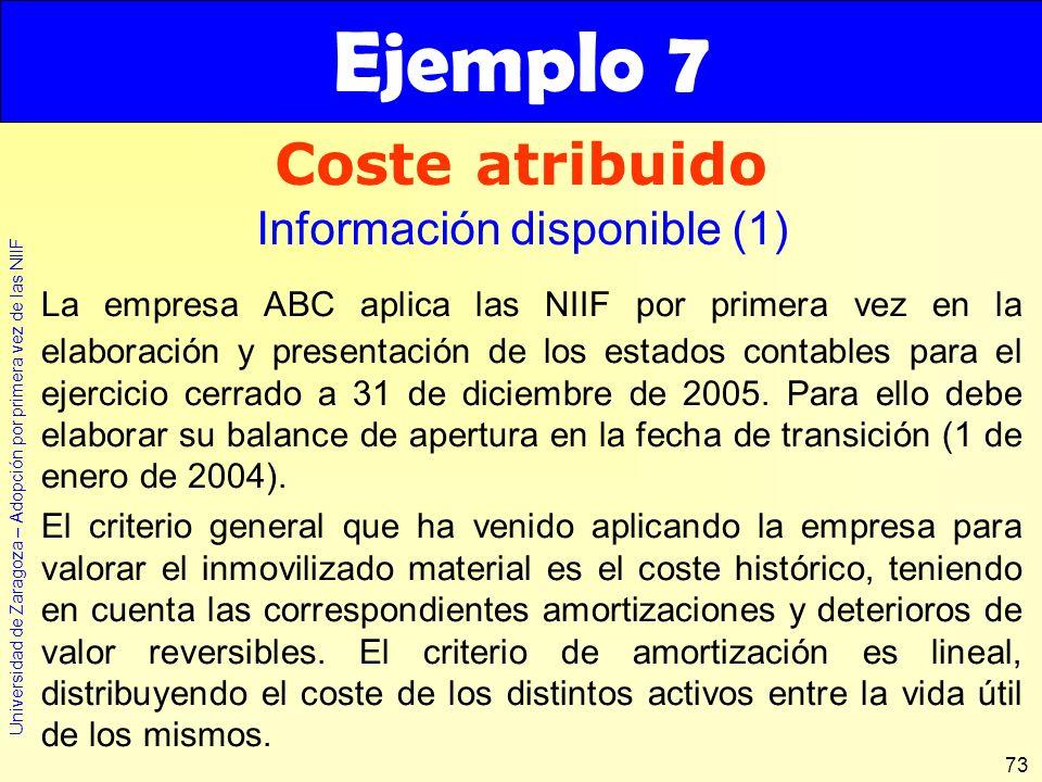 Universidad de Zaragoza – Adopción por primera vez de las NIIF 73 La empresa ABC aplica las NIIF por primera vez en la elaboración y presentación de l