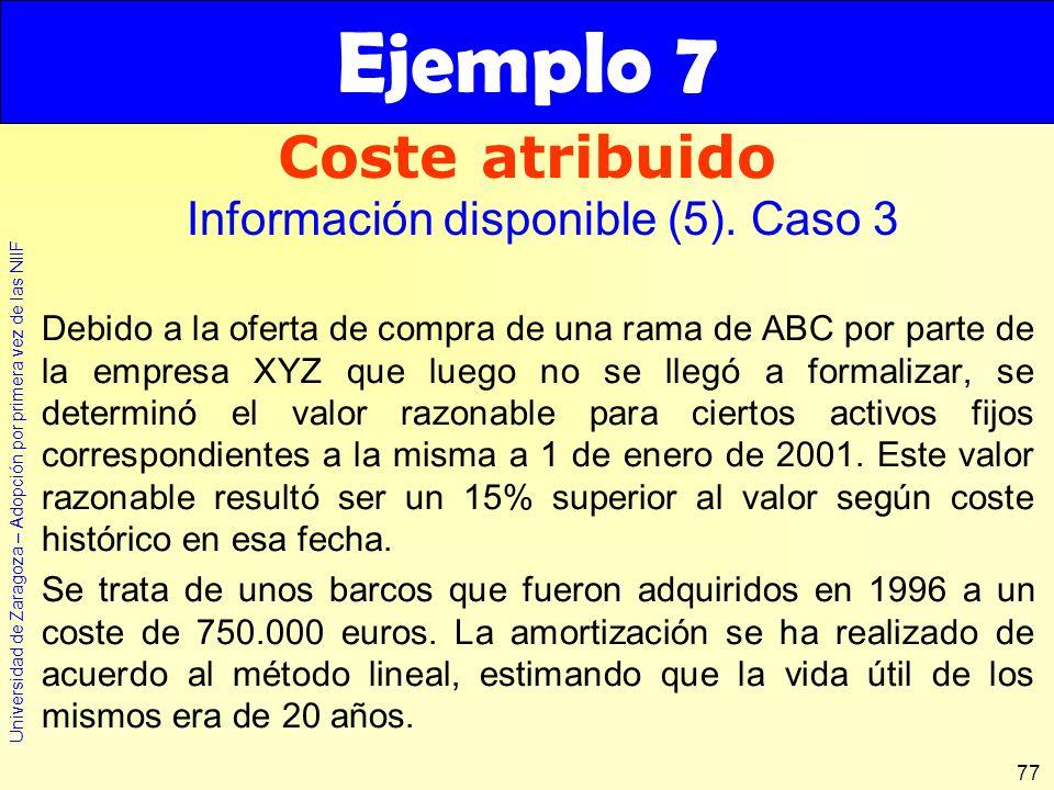 Universidad de Zaragoza – Adopción por primera vez de las NIIF 77 Debido a la oferta de compra de una rama de ABC por parte de la empresa XYZ que lueg