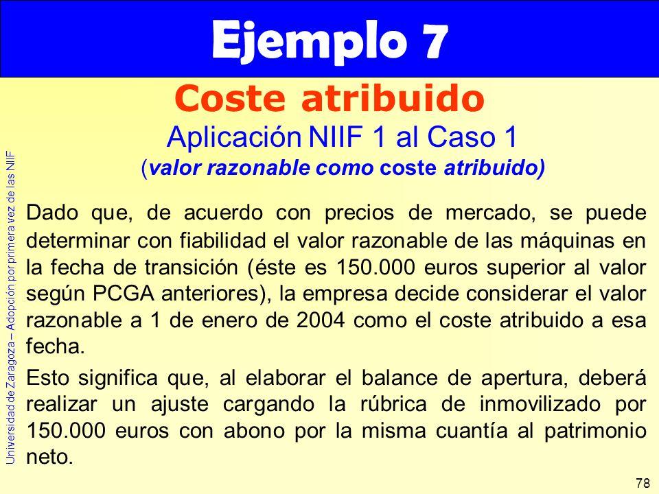 Universidad de Zaragoza – Adopción por primera vez de las NIIF 78 Dado que, de acuerdo con precios de mercado, se puede determinar con fiabilidad el v