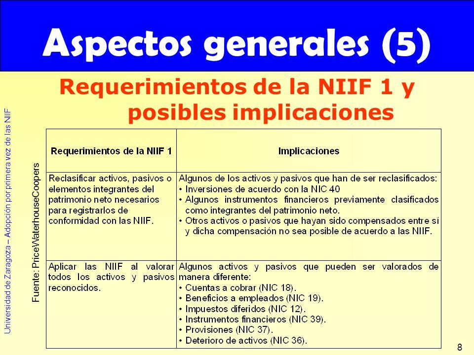 Universidad de Zaragoza – Adopción por primera vez de las NIIF 8 Requerimientos de la NIIF 1 y posibles implicaciones Aspectos generales (5) Fuente: P