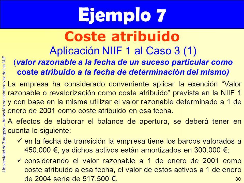 Universidad de Zaragoza – Adopción por primera vez de las NIIF 80 La empresa ha considerado conveniente aplicar la exención Valor razonable o revalori