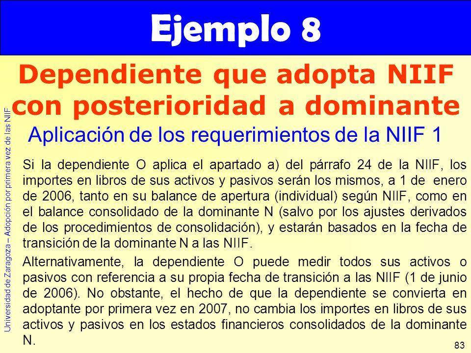 Universidad de Zaragoza – Adopción por primera vez de las NIIF 83 Si la dependiente O aplica el apartado a) del párrafo 24 de la NIIF, los importes en