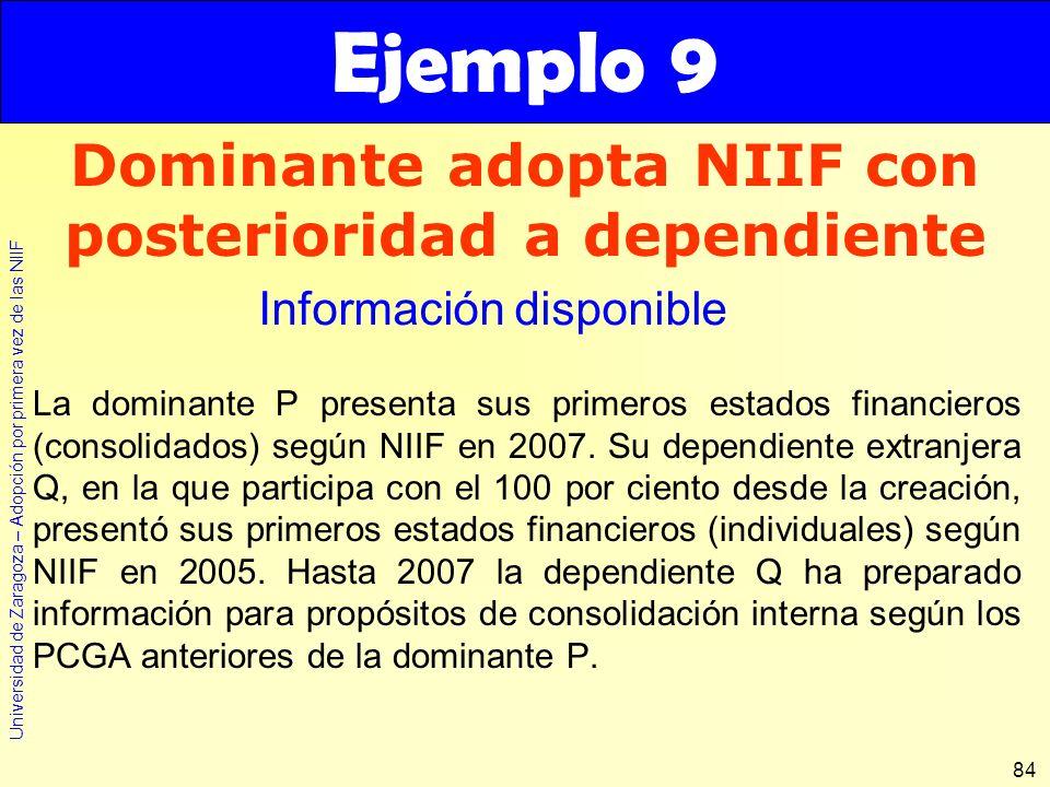 Universidad de Zaragoza – Adopción por primera vez de las NIIF 84 La dominante P presenta sus primeros estados financieros (consolidados) según NIIF e