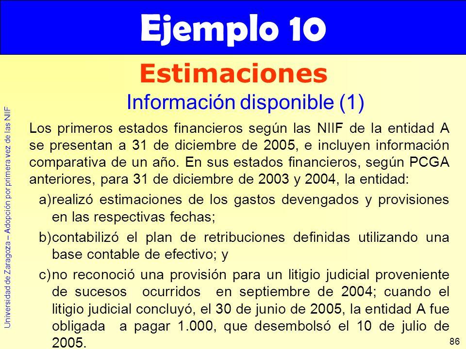 Universidad de Zaragoza – Adopción por primera vez de las NIIF 86 Los primeros estados financieros según las NIIF de la entidad A se presentan a 31 de
