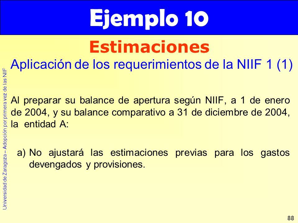 Universidad de Zaragoza – Adopción por primera vez de las NIIF 88 Al preparar su balance de apertura según NIIF, a 1 de enero de 2004, y su balance co