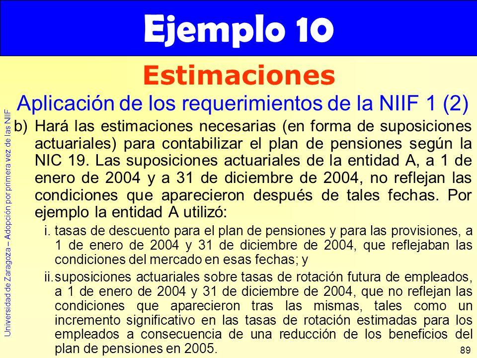 Universidad de Zaragoza – Adopción por primera vez de las NIIF 89 b)Hará las estimaciones necesarias (en forma de suposiciones actuariales) para conta