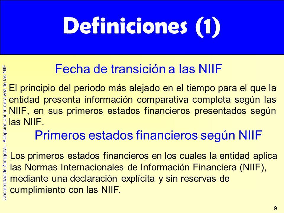 Universidad de Zaragoza – Adopción por primera vez de las NIIF 9 El principio del periodo más alejado en el tiempo para el que la entidad presenta inf