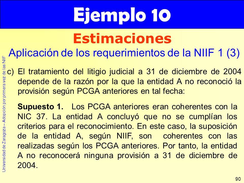 Universidad de Zaragoza – Adopción por primera vez de las NIIF 90 c)El tratamiento del litigio judicial a 31 de diciembre de 2004 depende de la razón