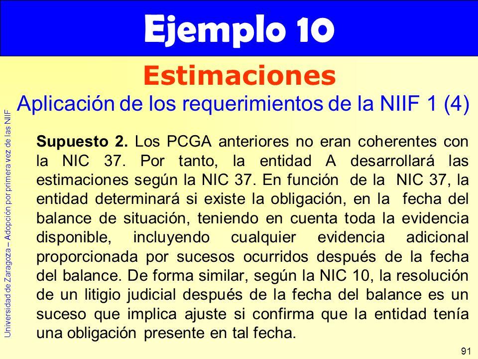 Universidad de Zaragoza – Adopción por primera vez de las NIIF 91 Estimaciones Ejemplo 10 Aplicación de los requerimientos de la NIIF 1 (4) Supuesto 2