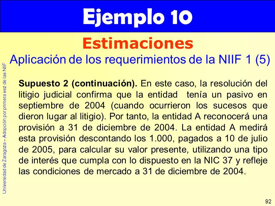 Universidad de Zaragoza – Adopción por primera vez de las NIIF 92 Estimaciones Ejemplo 10 Aplicación de los requerimientos de la NIIF 1 (5) Supuesto 2