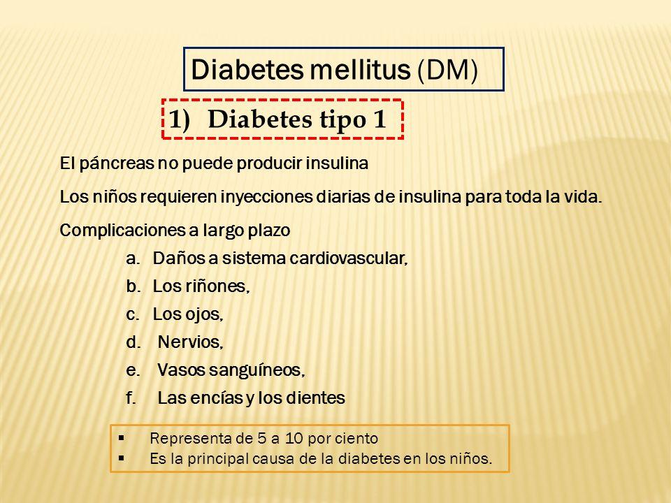 El páncreas no puede producir insulina Los niños requieren inyecciones diarias de insulina para toda la vida. Complicaciones a largo plazo a.Daños a s