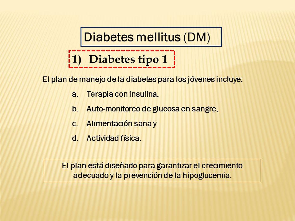 El plan de manejo de la diabetes para los jóvenes incluye: a.Terapia con insulina, b.Auto-monitoreo de glucosa en sangre, c.Alimentación sana y d.Acti