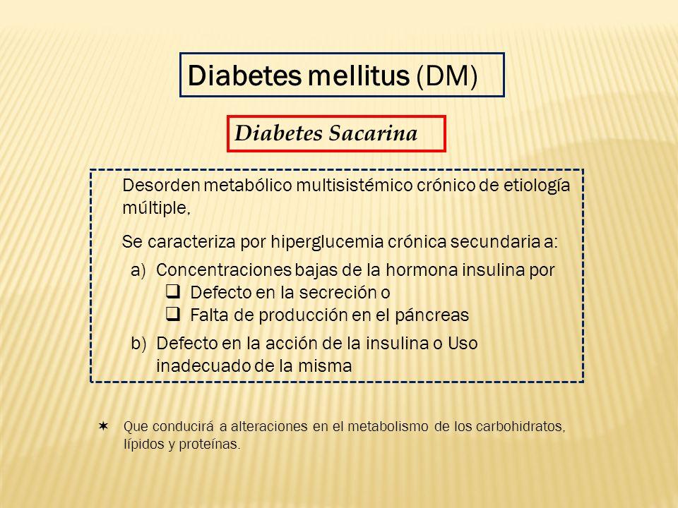 Desorden metabólico multisistémico crónico de etiología múltiple, Se caracteriza por hiperglucemia crónica secundaria a: a)Concentraciones bajas de la