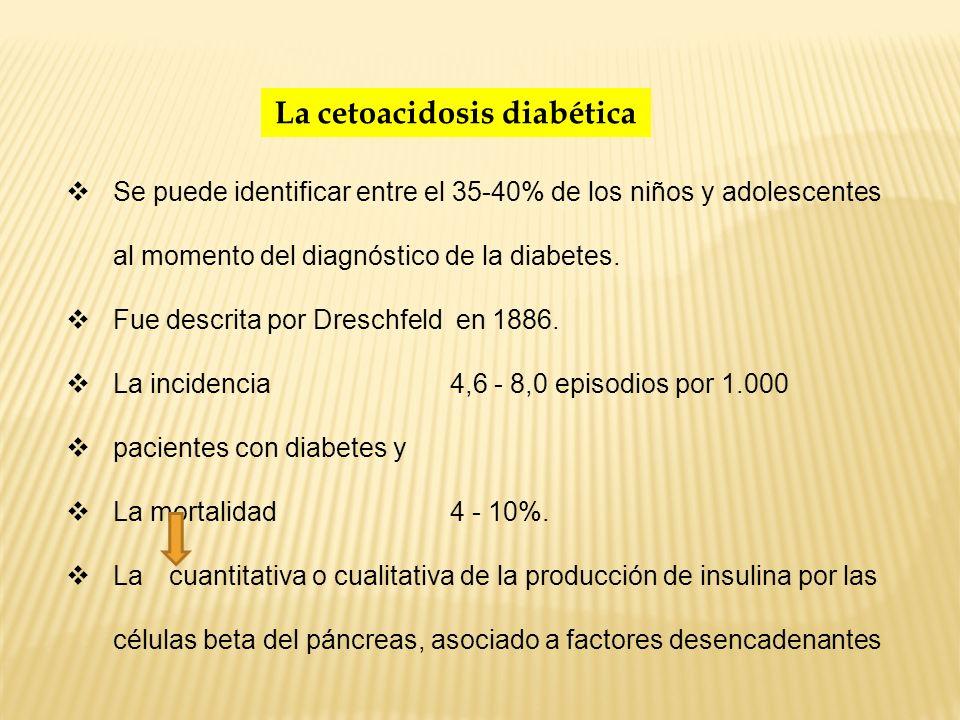 La cetoacidosis diabética Se puede identificar entre el 35-40% de los niños y adolescentes al momento del diagnóstico de la diabetes. Fue descrita por