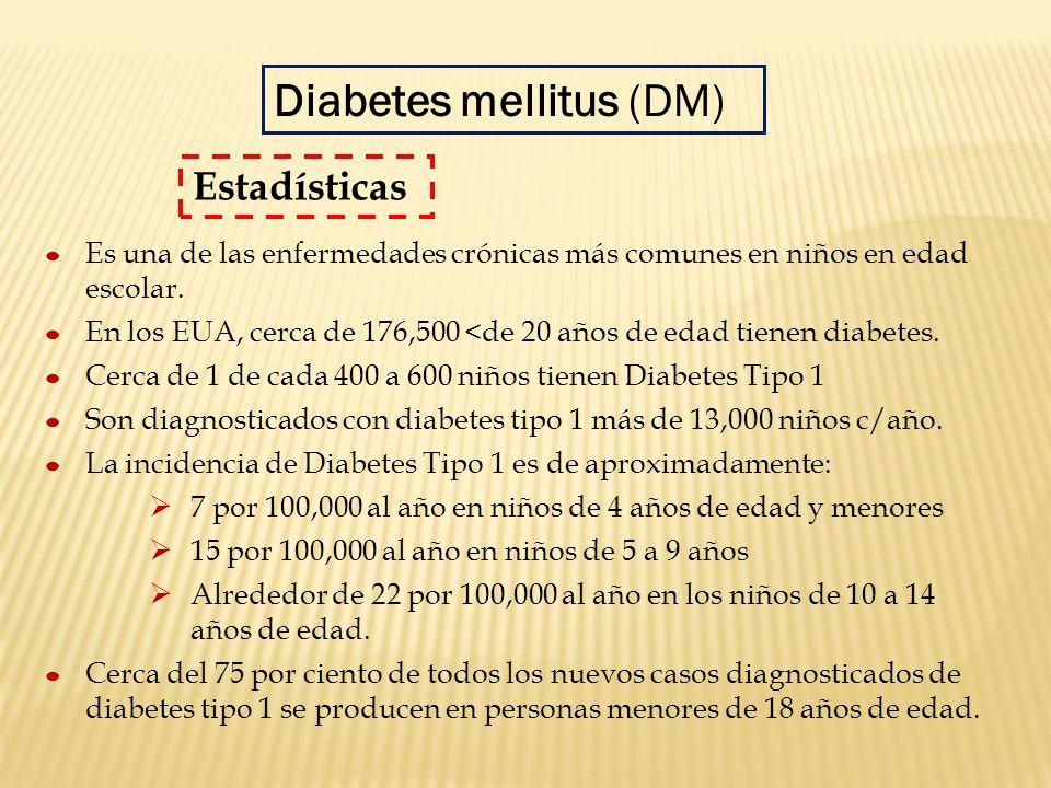 Es una de las enfermedades crónicas más comunes en niños en edad escolar. En los EUA, cerca de 176,500 <de 20 años de edad tienen diabetes. Cerca de 1