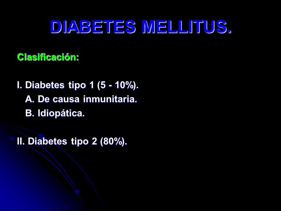 DIABETES MELLITUS. Clasificación: I. Diabetes tipo 1 (5 - 10%). A. De causa inmunitaria. A. De causa inmunitaria. B. Idiopática. B. Idiopática. II. Di