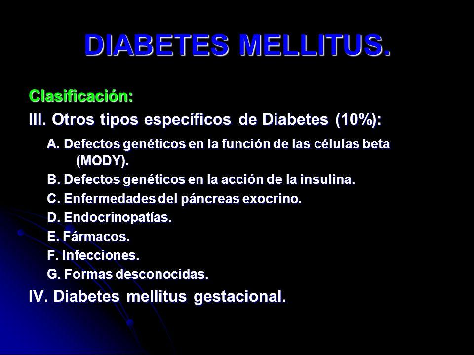 DIABETES MELLITUS. Clasificación: III. Otros tipos específicos de Diabetes (10%): A. Defectos genéticos en la función de las células beta (MODY). A. D