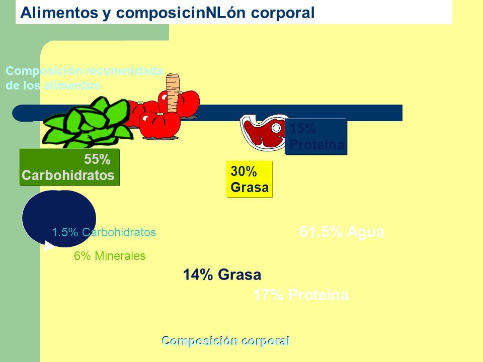 17% Proteina 61.5% Agua 14% Grasa 6% Minerales 1.5% Carbohidratos Composición recomendada de los alimentos Alimentos y composicinNLón corporal 55% Car