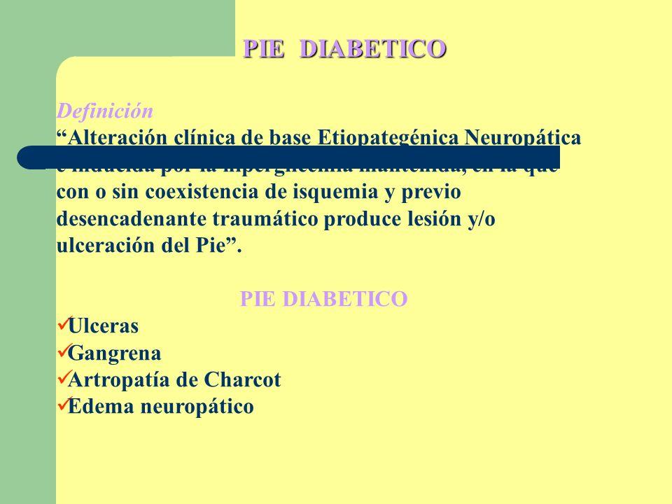 PIE DIABETICO Definición Alteración clínica de base Etiopategénica Neuropática e inducida por la hiperglicemia mantenida, en la que con o sin coexiste