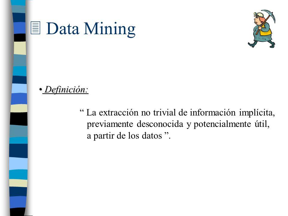 Definición: Definición: La extracción no trivial de información implícita, previamente desconocida y potencialmente útil, a partir de los datos.