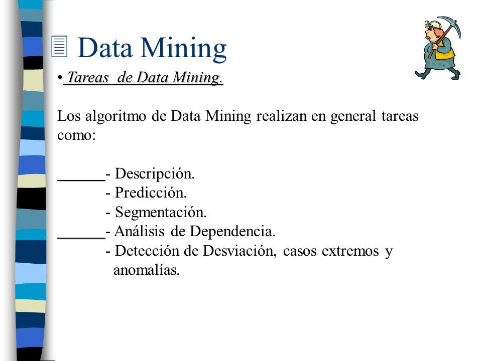 3 Data Mining Tareas de Data Mining. Tareas de Data Mining. Los algoritmo de Data Mining realizan en general tareas como: - Descripción. - Predicción.