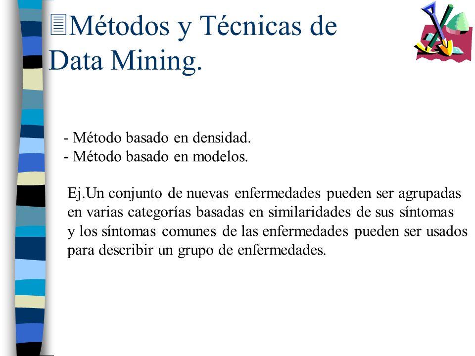 3Métodos y Técnicas de Data Mining. - Método basado en densidad. - Método basado en modelos. Ej.Un conjunto de nuevas enfermedades pueden ser agrupada