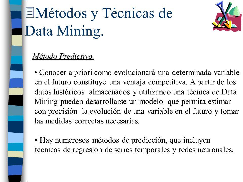 3Métodos y Técnicas de Data Mining. Método Predictivo. Conocer a priori como evolucionará una determinada variable en el futuro constituye una ventaja