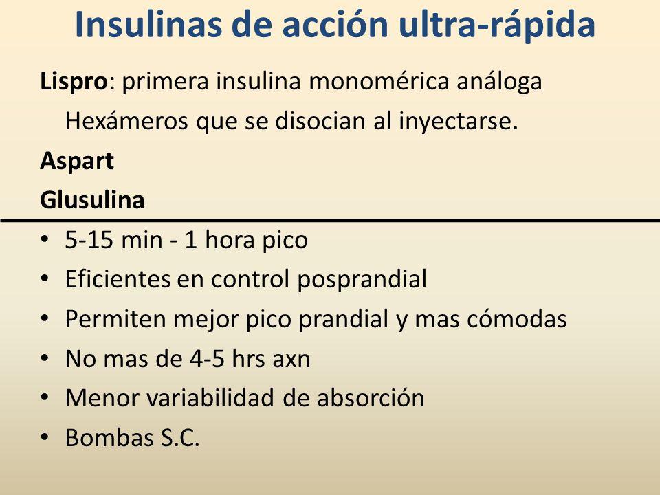 Insulinas de acción ultra-rápida Lispro: primera insulina monomérica análoga Hexámeros que se disocian al inyectarse. Aspart Glusulina 5-15 min - 1 ho