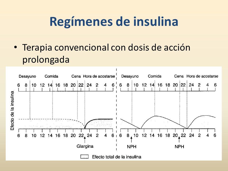 Terapia convencional con dosis de acción prolongada Regímenes de insulina